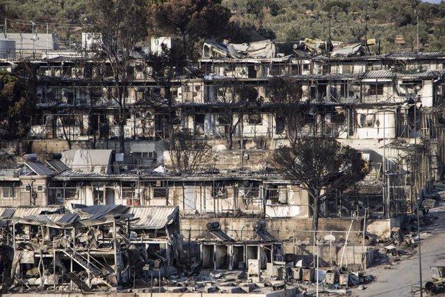 Campamento de Moria, en Lesbos, destruido por las llamas