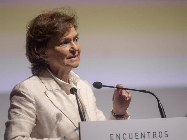 La vicepresidenta primera del Gobierno, ministra de la Presidencia, Relaciones con las Cortes y Memoria Democrática, Carmen Calvo