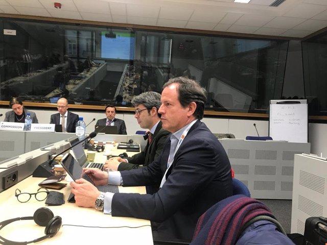 El secretario general de Cepesca y presidente de Europêche, Javier Garat, durante una reunión del sector pesquero