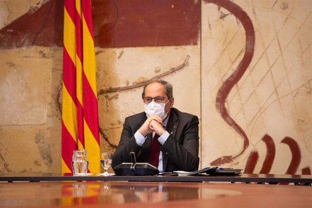 El president de la Generalitat, Quim Torra, encapçala una reunió del Govern hores després de conèixer-se la seva inhabilitació, a Barcelona, Catalunya (Espanya), a 28 de setembre de 2020. La Sala penal del Tribunal Suprem ha dictat avui una condemna de