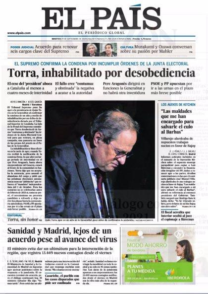 Las portadas de los periódicos del martes 29 de septiembre de 2020