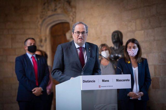 El president de la Generalitat, Quim Torra, fa una declaració institucional hores després de conèixer-se la seva inhabilitació. Barcelona, Catalunya (Espanya), 28 de setembre del 2020.
