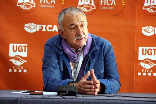 Pla sencer del secretari general de la UGT, Josep Maria Álvarez, en roda de premsa a Tarragona el 29 de setembre del 2020. (Horitzontal)