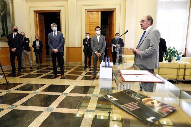El presidente de Aragón, Javier Lambán, en la convocatoria de este martes.