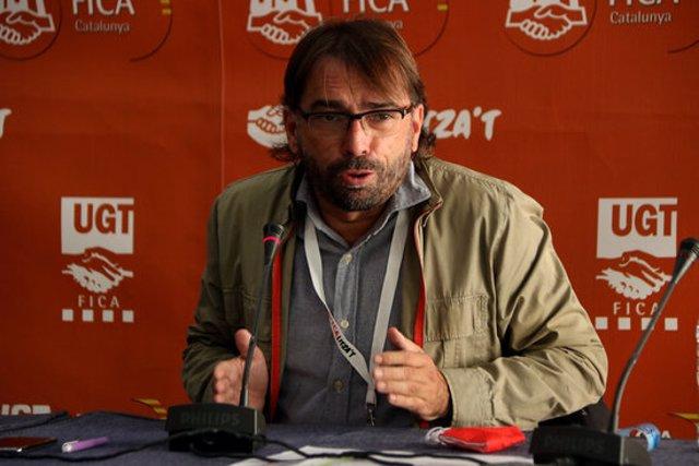 Primer pla del secretari general de la UGT de Catalunya, Camil Ros, en una roda de premsa a Tarragona. Imatge del 29 de setembre del 2020. (Horitzontal)
