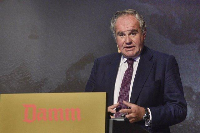 Demetrio Carceller Arce, presidente ejecutivo de Damm, en la junta de accionistas del 29/9/2020 celebrada en la Antigua Fábrica Estrella Damm de Barcelona