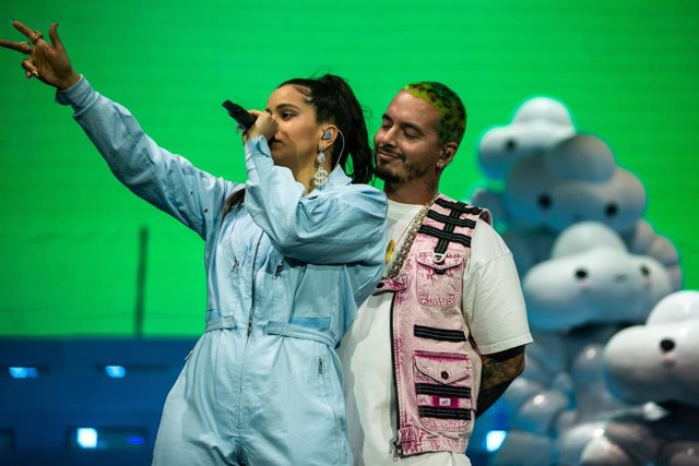 April 21, 2019 - Indio, California, United States: Rosalia and J Balvin perform on stage during Weekend 2 of the Coachella Valley Music