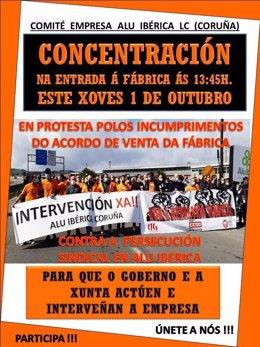 Cartel de concentración de los trabajadores de Alu Ibérica