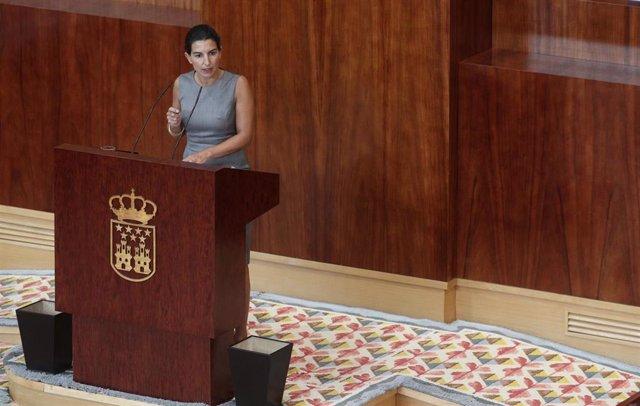 La portavoz de Vox en la Asamblea de Madrid, Rocío Monasterio, interviene durante la segunda jornada del Pleno del Debate del Estado de la Región en Madrid (España), a 15 de septiembre de 2020. En esta segunda sesión participarán los grupos parlamentarios