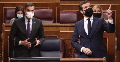 """Sánchez avisa a Casado que con su defensa del Rey puede repetir lo que pasó en Cataluña: """"Y ya ve cómo acabamos"""""""