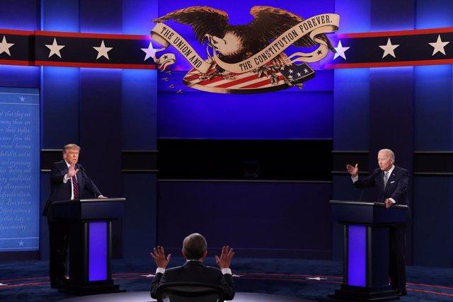 Donald Trump y Joe Biden en su primer debate televisado