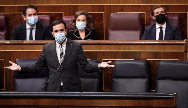 El ministro de Consumo, Alberto Garzón, interviene en una nueva sesión de control al gobierno en el Congreso