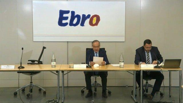 El presidente de Ebro Foods, Antonio Hernández Callejas, en la junta telemática de accionistas