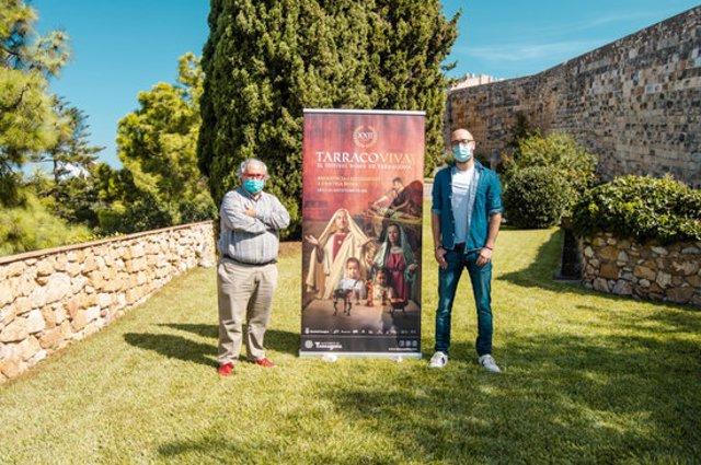 Presentació del certamen Tarraco Viva 2020, amb presència del director, Magí Seritjol, i del regidor de Patrimoni, Hermán Pinedo. Imatge del 30 de setembre del 2020. (Horitzontal)