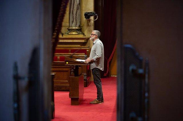 El diputat de la CUP Carles Riera en la seva intervenció en el ple específic del Parlament sobre la inhabilitació de l'expresident de la Generalitat Quim Torra.