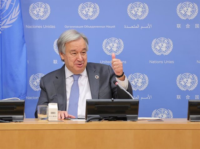 29 September 2020, US, New York: UNSecretary-General Antonio Guterres, delivers a press statement during the 75th session of the United Nations General Assembly. Photo: Luiz Rampelotto/ZUMA Wire/dpa