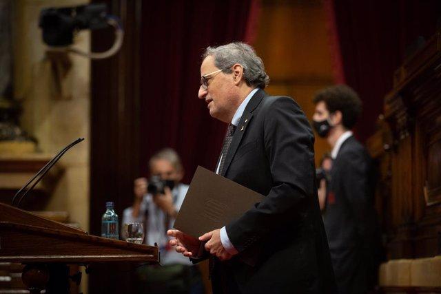 El ja expresident de la Generalitat Quim Torra intervé durant una sessió plenària monogràfica en el Parlament sobre la seva inhabilitació, a Barcelona, Catalunya (Espanya), a 30 de setembre de 2020.