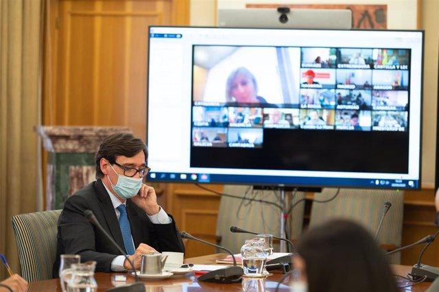 El ministro de Sanidad, Salvador Illa, preside por videoconferencia la reunión del Consejo Interterritorial del Sistema Nacional de Salud, en Madrid (España), a 30 de septiembre de 2020.