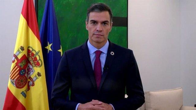 El presidente del Gobierno, Pedro Sánchez, en un vídeo para la ONU.