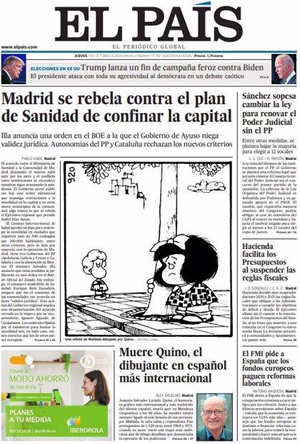 Las portadas de los periódicos del jueves 1 de octubre de 2020