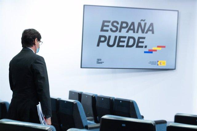 El ministre de Sanitat, Salvador Illa, en una roda de premsa telemàtica després de la reunió del Consell Interterritorial del Sistema Nacional de Salut (CISNS), a La Moncloa. Madrid (Espanya), 30 de setembre del 2020.