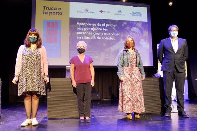 L'acte de presentació de la campanya 'Truca a la porta' a Girona aquest 1 d'octubre del 2020. (Horitzontal)