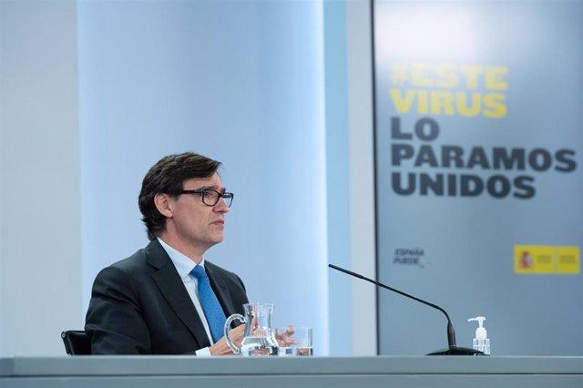 El ministro de Sanidad, Salvador Illa, ofrece una rueda de prensa telemática tras la reunión del Consejo Interterritorial del Sistema Nacional de Salud (CISNS), en Moncloa, Madrid (España) a 30 de septiembre de 2020.