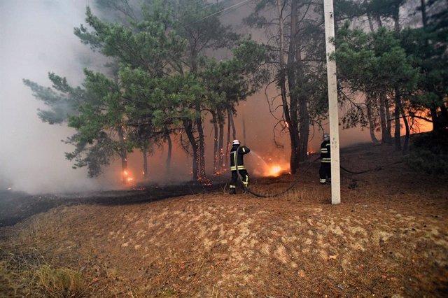 Ucrania.- Los fuertes incendios registrados en el este de Ucrania dejan al menos