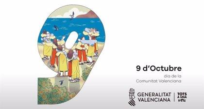 Ana Asunción y Nuria Tamarit se inspiran en 'El abrazo' de Genovés en un cartel del 9 d'Octubre que evoca la unión