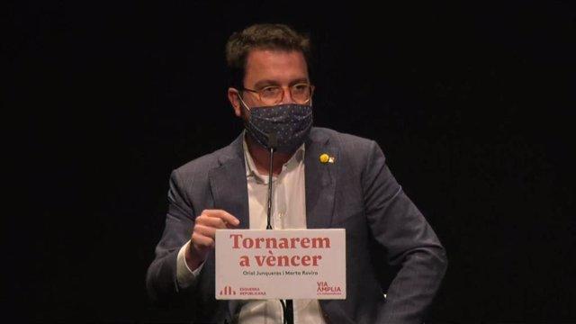El vicepresidente en funciones de presidente de la Generalitat, Pere Aragonès, en un acto de ERC en Girona.