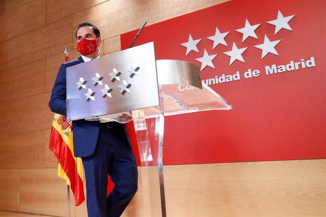 El vicepresidente de la Comunidad de Madrid, consejero de Deportes, Transparencia y portavoz del Gobierno regional, Ignacio Aguado