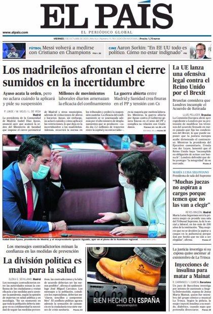 Las portadas de los periódicos del viernes 2 de octubre de 2020