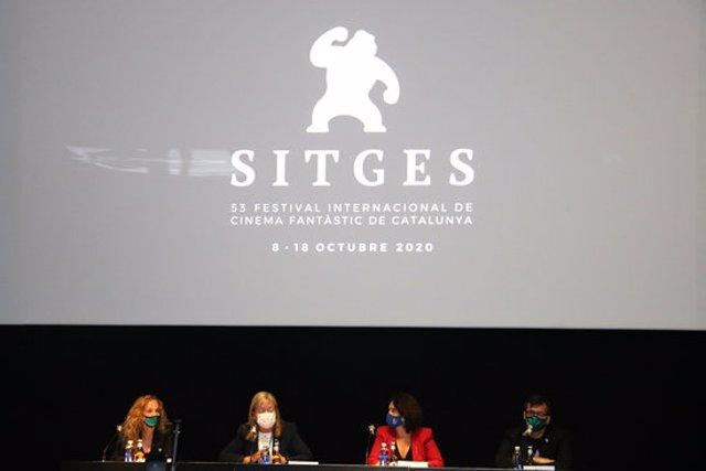 Pla obert de la sala on s'ha presentat el Festival de Sitges aquest 2 d'octubre del 2020. (Horitzontal)