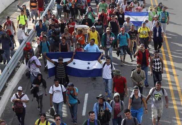 Migrantes nicaragüenses en las caravanas centroamericanas