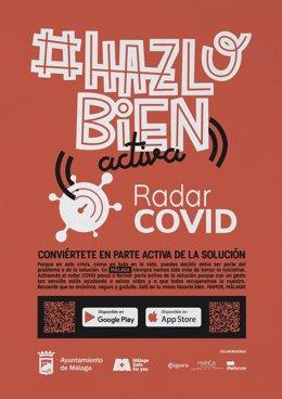 Cartel para el fomento del uso de la aplicación Rada Covid en Málaga