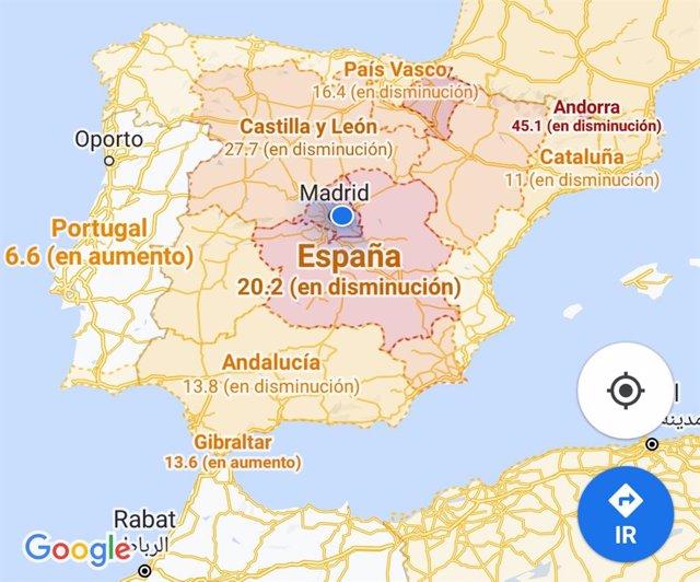 Google Maps muestra la incidencia de la Covid-19: así puedes comprobar cómo de a