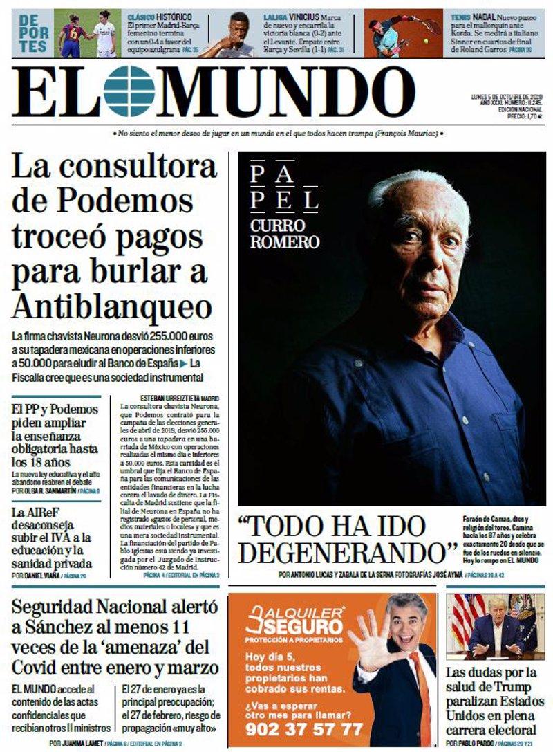 Las Portadas De Los Periodicos Del Lunes 5 De Octubre De 2020