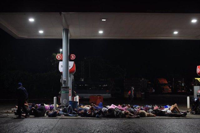 Migrantes hondureños en Izabal, Guatemala
