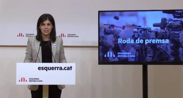 La secretària general adjunta i portaveu d'ERC, Marta Vilalta, en roda de premsa telemàtica.