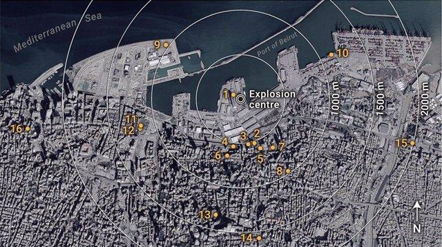 Los ingenieros utilizaron imágenes de 16 videos en las redes sociales para estimar el rendimiento de la explosión de Beirut en 2020.