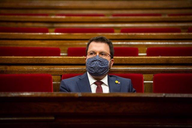 El president interí de la Generalitat, Pere Aragonès, al Parlament. Barcelona, Catalunya (Espanya), 30 de setembre del 2020.