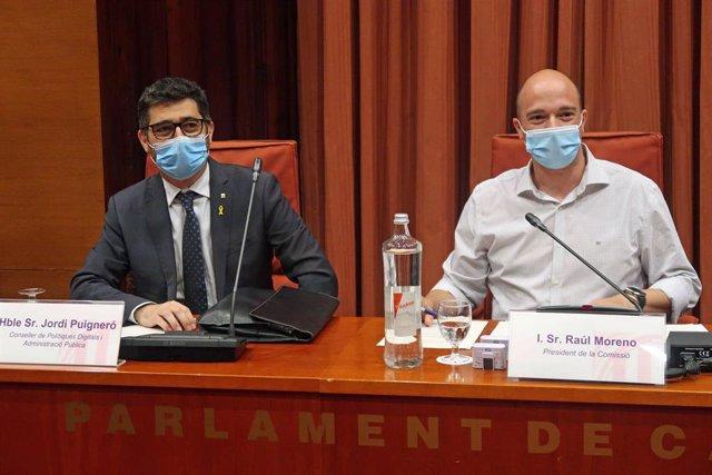 El conseller de Polítiques Digitals i Administració Pública de la Generalitat, Jordi Puigneró, en la Comissió de Polítiques Digitals i Administració Pública del Parlament del 14 de juliol del 2020.