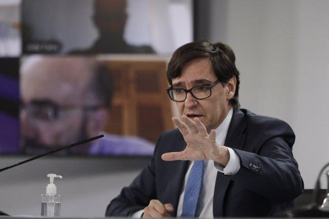 El ministro de Sanidad, Salvador Illa, comparece en rueda de prensa en Moncloa, para informar de la evolución de la pandemia, en Madrid (España), a 5 de octubre de 2020.