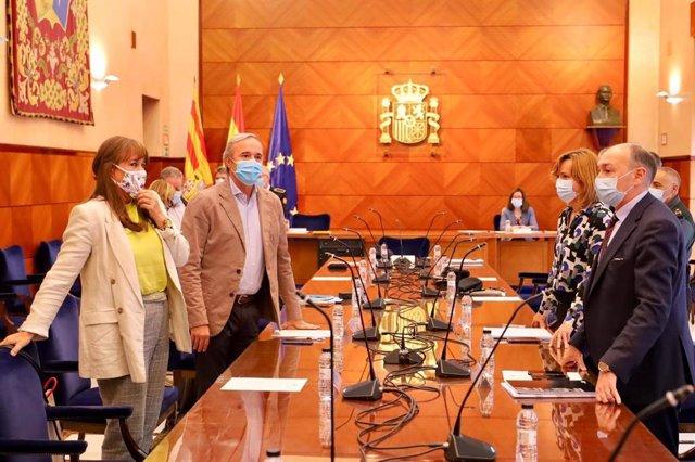Reunión de la Junta Local de Seguridad sobre la suspensión de las fiestas del Pilar de Zaragoza