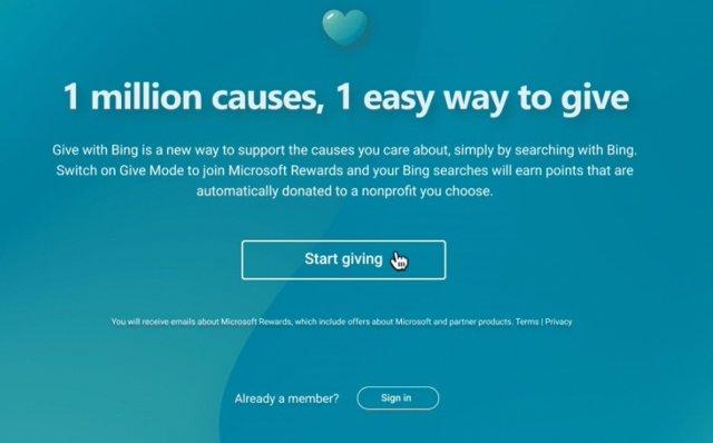 Microsoft Bing amplía el programa de recompensas con donaciones a organizaciones