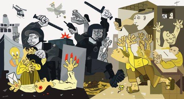 L'obra que es va instal·lar l'1-O a Moià inspirada en el Guernica. Imatge de l' 1d'octubre del 2020. (Horitzontal)