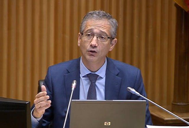 El gobernador del Banco de España, Pablo Hernández de Cos, comparece en el Congreso el 6 de octubre.