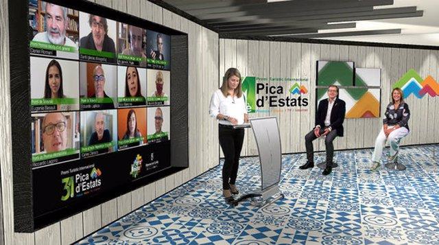 Imatge de l'acte virtual de lliurament del 31è Premi turístic Pica d'Estats, celebrat el 6 d'octubre el 2020. (Horitzontal)