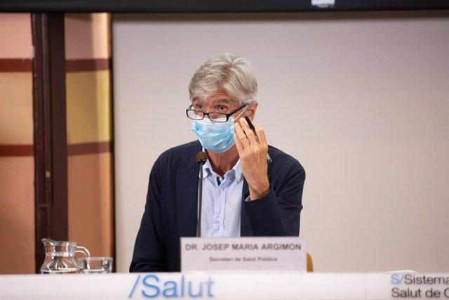 El secretari de Salut Pública de la Generalitat, Josep Maria Argimon, en una roda de premsa a la Conselleria de la Salut. Barcelona, Catalunya (Espanya), 22 de setembre del 2020.