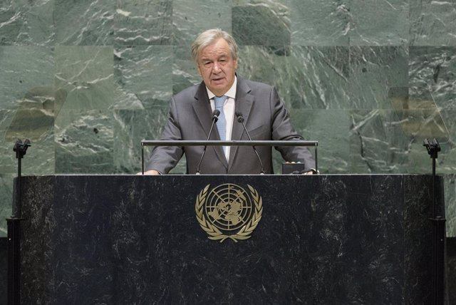 HANDOUT - 21 September 2020, US, New York: UN Secretary-General Antonio Guterres delivers remarks to the high-level meeting of the General Assembly to commemorate the 75th anniversary of the United Nations. Photo: Manuel Elias/UN Photo/dpa - ATTENTION: ed